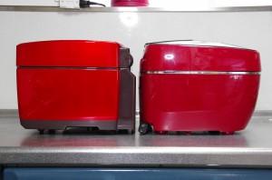 三菱、タイガー炊飯器本体比較横