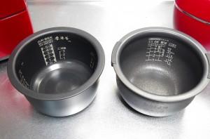 三菱、タイガー炊飯ジャー内釜比較