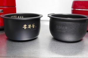 三菱、タイガー炊飯ジャー内釜比較サイド